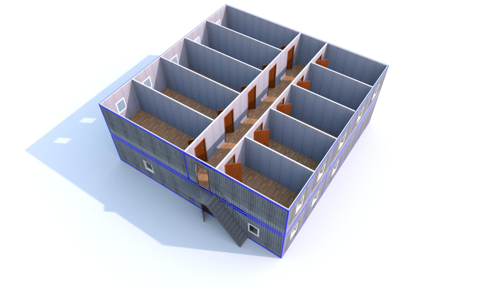 Блок-Модуль (Д.,Ш.,В.) 12,0*12,0*5,0м., состоящий из 10 блок-контейнеров 12,0*2,4*2,5м