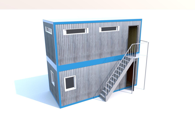 Блок-Модуль (Д.,Ш.,В.) 6,0*2,4*5,0м в 2 этажа, состоящий из 2 блок-контейнеров 6,0*2,4*2,5м